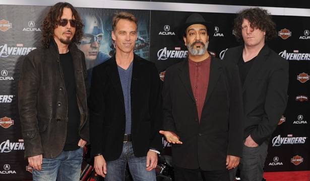 Musicians Chris Cornell, Matt Cameron, Kim Thayil and Ben Shepherd of Soundgarden arrive at the premiere of Marvel Studios' 'The Avengers' on April 11, 2012 in Hollywood.