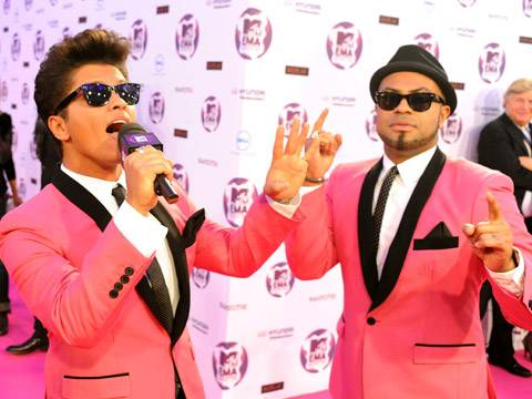 Bruno Mars and band arrive at the 2011 MTV EMA.