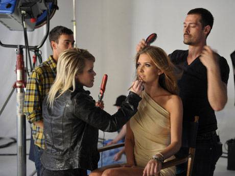 Audrina in hair and make-up.