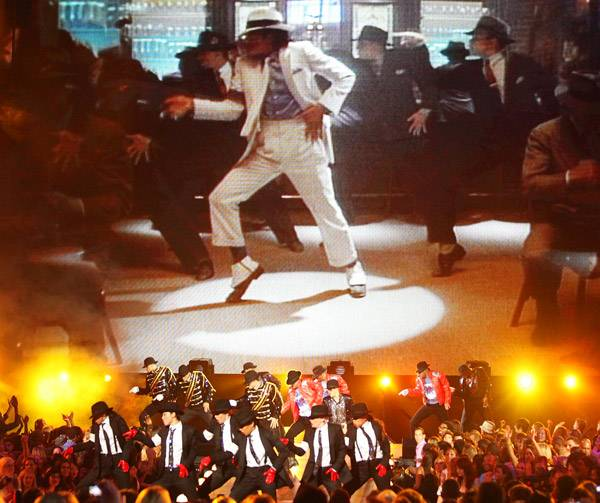 2009 - A group of smooth criminals pay tribute to Michael Jackson at the 2009 MTV Video Music Awards at Radio City Music Hall in New York City.