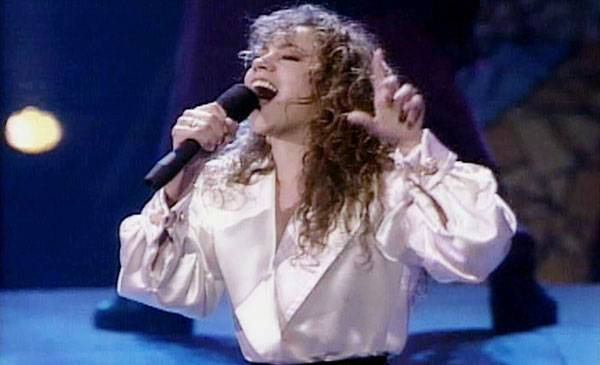 """1991 - Mariah Carey blows away the 1991 VMA crowd with her performance of """"Emotions."""""""