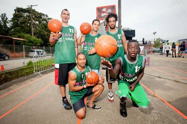 The Basketball Crew shoot some hoops at MTV Summer 2011.