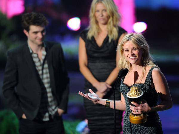 Reese Witherspoon photographed on stage while accepting the MTV Generation Award at the 2011 MTV Movie Awards in Los Angeles.