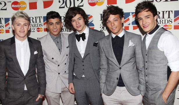 Niall Horan, Zayn Malik, Harry Styles, Louis Tomlinson and Liam Payne of One Direction attend The Brit Awards 2012 at The O2 Arena on February 21, 2012 in London, England.