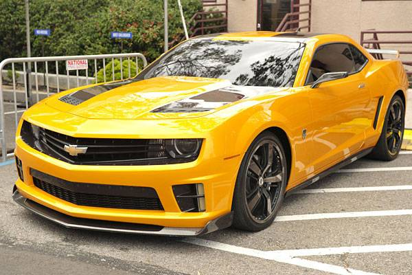 Bumblebee in Chevy Camaro form from the 'Transformers' series.