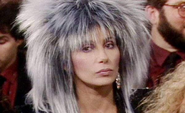 1985 - Cher watches the show from underneath a pile of hair.