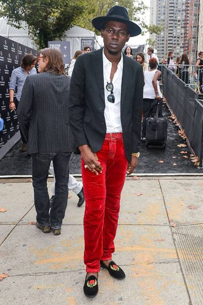 Rapper Theophilus London attends the Jill Stuart 2013 Mercedes-Benz Fashion Week Show at The Stage Lincoln Center on September 8, 2012 in New York City.