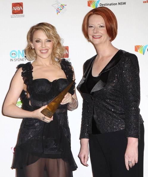 Kylie Minogue and Prime Minister Julia Guillard.