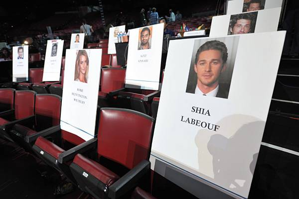 Rosie Huntington-Whiteley and Shia LaBeouf's seat cards at the Gibson Amphitheatre before the 2011 MTV Movie Awards.