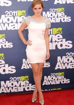 Emma Watson in a thigh-skimming Marchesa gown.