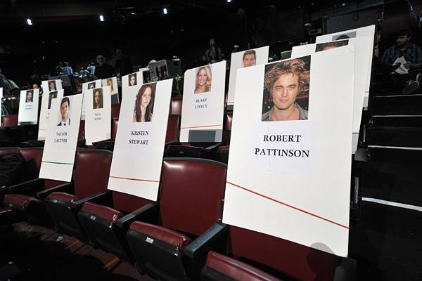 Taylor Lautner, Kristen Stewart and Robert Pattinson's seat cards at the Gibson Amphitheatre before the 2011 MTV Movie Awards.
