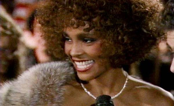 """1986 - Whitney Houston, a striking new talent, basks in the glow of her Best Female Video win for """"How Will I Know?"""""""