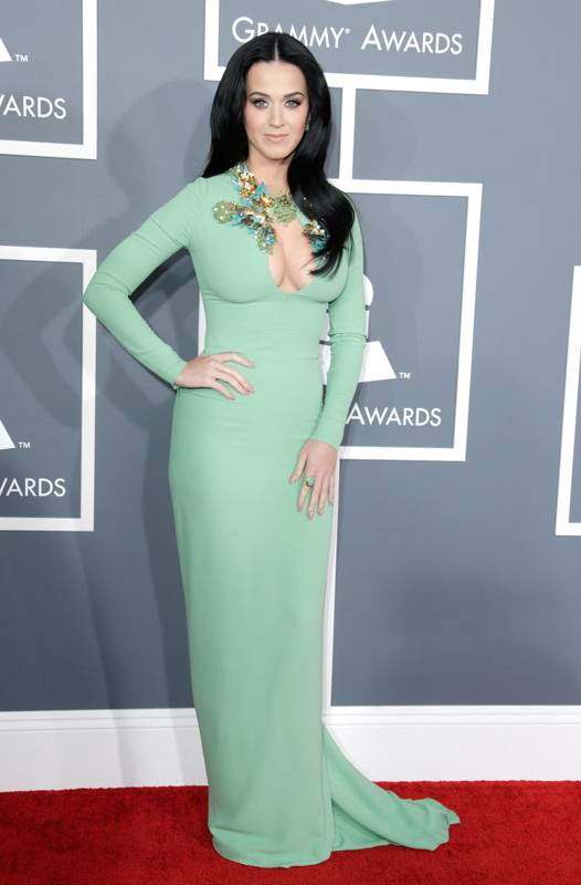Katy Perry on the 2013 Grammy Awards red carpet.