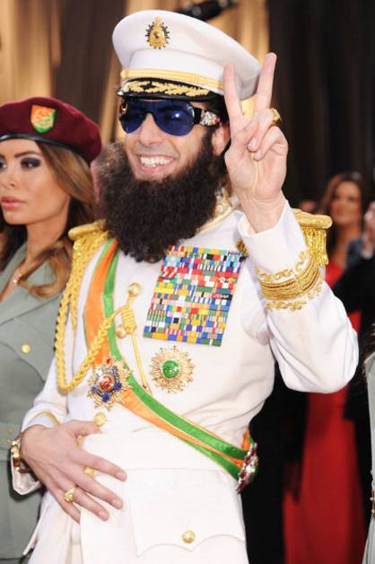 Sacha Baron Cohen arrives as 'The Dictator' at the 2012 Oscars.