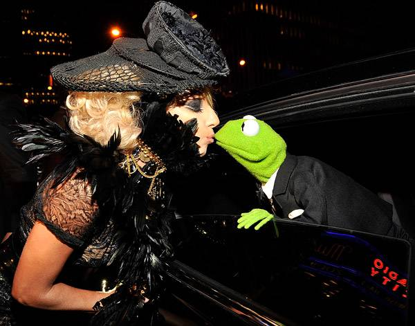 2009 - Lady Gaga and Kermit during the 2009 MTV Video Music Awards at Radio City Music Hall in New York City.