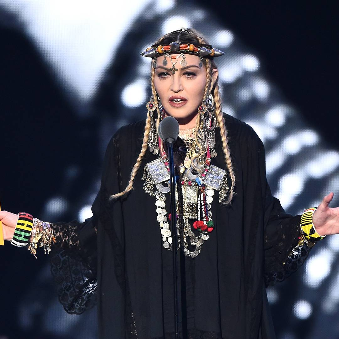 Madonna pays homage to Aretha Franklin while presenting Video of the Year.