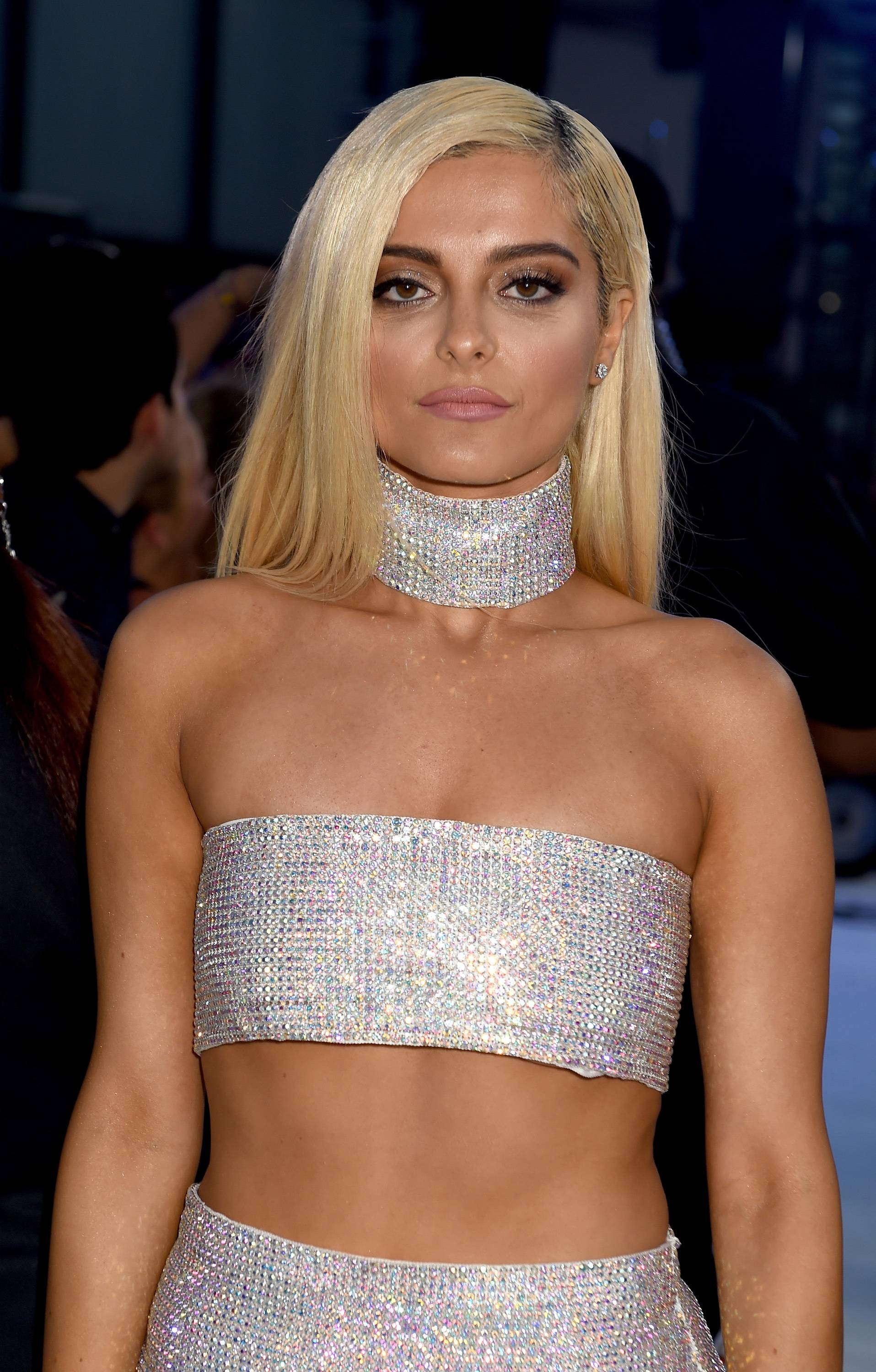 Bebe Rexha struts her stuff in a shimmering crystal skirt and matching crop top at the 2016 VMAs.