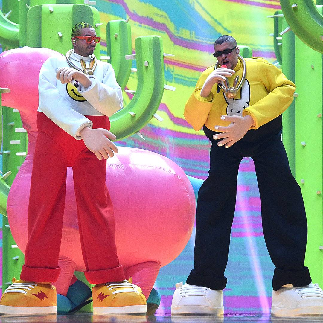 """J Balvin and Bad Bunny put on a colorful show for their hit """"Que Pretendes."""""""
