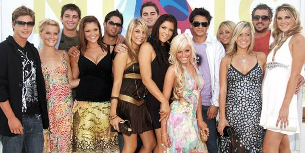 Can you name them all? L.C.? Stephen? Kristin? The full cast of 'Laguna Beach,' sticks together at the 2005 MTV Video Music Awards.