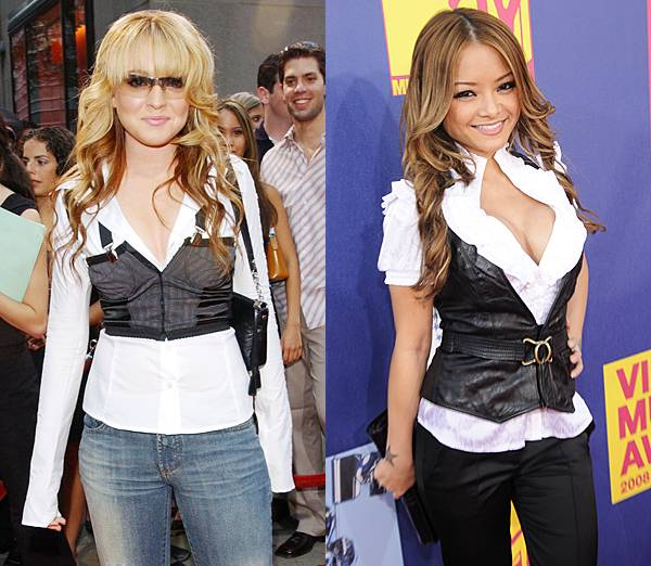 A young Lindsay Lohan rocks the business-casual look in a tight black vest and white shirt in 2003, and reality star Tila Tequila follows suit in 2008.
