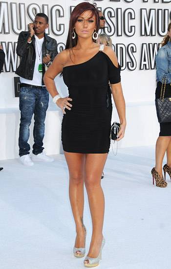 """'Jersey Shore' hottie Jenni """"JWOWW"""" Farley proves that a mega tan is the perfect complement to her glamorous Hollywood getup at the 2010 MTV Video Music Awards."""