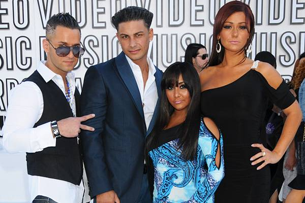 """Casties Mike """"The Situation,"""" Pauly D, Snooki, and JWOWW may be a long way from the shore, but they still manage to bring the party to the 2010 MTV Video Music Awards."""