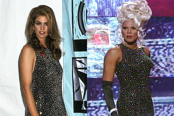 After supermodel stunner Cindy Crawford wows the crowd in a glitzy gown at the 1991 VMAs, RuPaul proves imitation is the sincerest form of flattery with a nearly identical sparkle dress two years later.