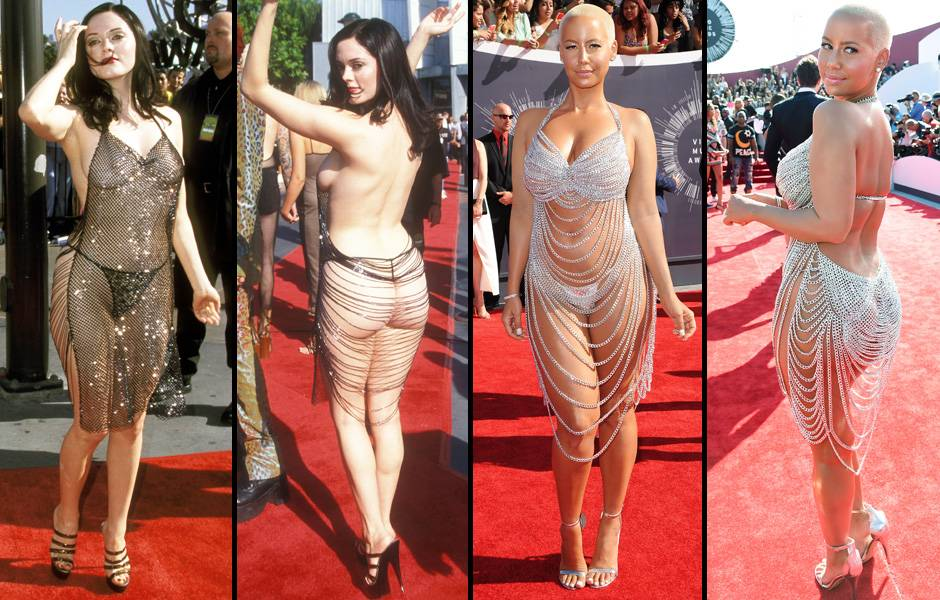 Rose McGowan donned one of the most infamous and revealing VMA red carpet outfits of all time back in 1998. Who better to recreate the look in 2014 than the always gorgeous yet scantily clad Amber Rose?