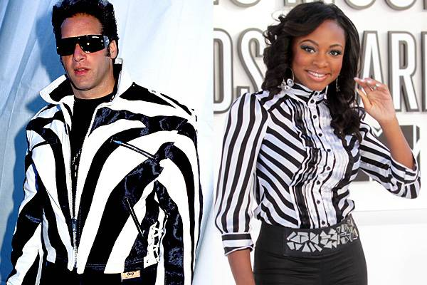 Taking note from Andrew Dice Clay's 1989 red-carpet-ready bomber, Naturi Naughton keeps it sleek and chic in similar symmetric stripes in 2010.