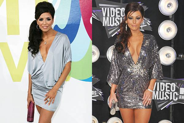 With plunging necklines and sleek side ponies, Eva Longoria and JWOWW strut their synchronized stuff in shimmery silver mini dresses at the 2005 and 2011 VMAs.