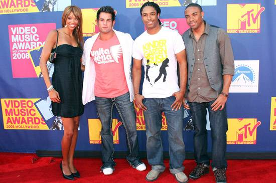 Castmates Brittini, Joey, Will, and Nick of 'Real World: Hollywood' reunite at the 2008 MTV Video Music Awards.