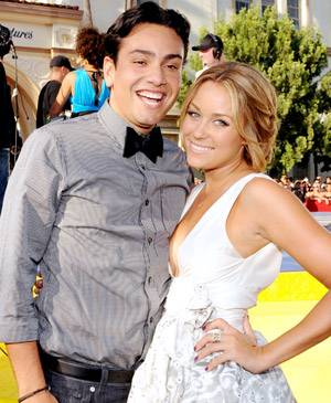 What's so funny Frankie? 'The Hills' stars, Frankie Delgado and Lauren Conrad, share a laugh on the red carpet at the 2008 MTV Video Music Awards.
