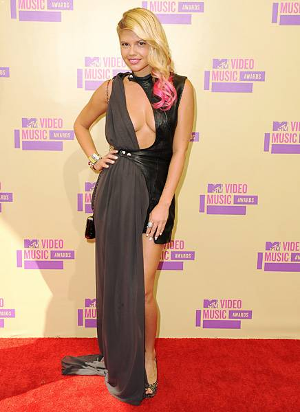 'Ridiculousness' star Chanel West Coast shows off her bronzed bod in a  barely there floor length gown at the 2012 MTV Video Music Awards.