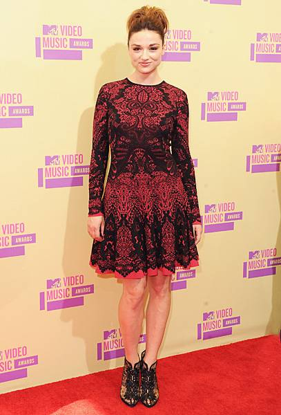 Crystal Reed of MTV's 'Teen Wolf' looks prim and proper while posing on the red carpet at the 2012 Video Music Awards.