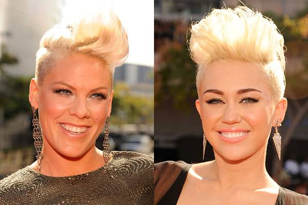 At the 2012 show, Miley Cyrus debuts her brand new 'do and causes quite a stir on the red carpet when she's placed right next to P!nk. Bright blonde pompadours on both singers? Twinsies!