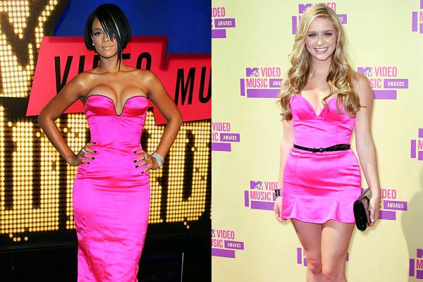 In 2007, Rihanna donned an electric pink gown with a bustier neckline. Five years later, 'Awkward' star Greer Grammer wears the same shade with a similar neckline, only with a much shorter hemline.