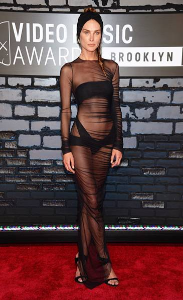 Model Erin Wasson leaves very little to the imagination in a sheer black number on the 2013 VMA red carpet.