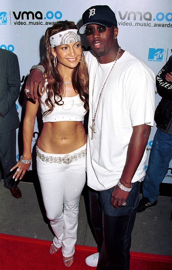 """Jennifer Lopez and Sean """"Puffy"""" Combs pose together at the 2000 VMAs."""