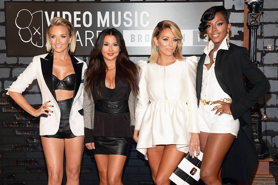 Danity Kane does 'Making The Band 3' proud in their jaw-dropping black and white red carpet outfits at the 2013 MTV Video Music Awards.