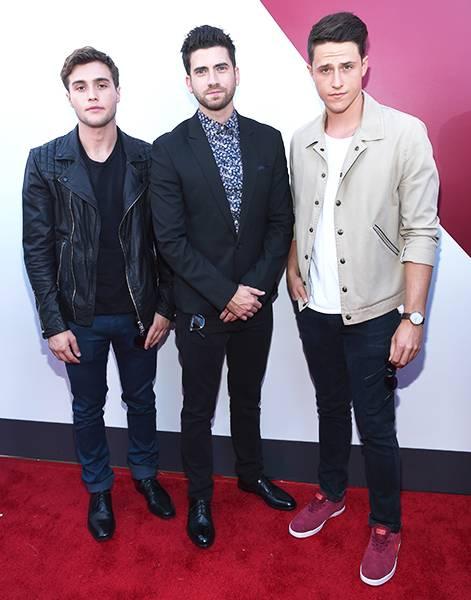 'Happyland' dudes Cameron Moulene, Shane Harper and Ryan Rottman get serious at the 2014 MTV Video Music Awards.
