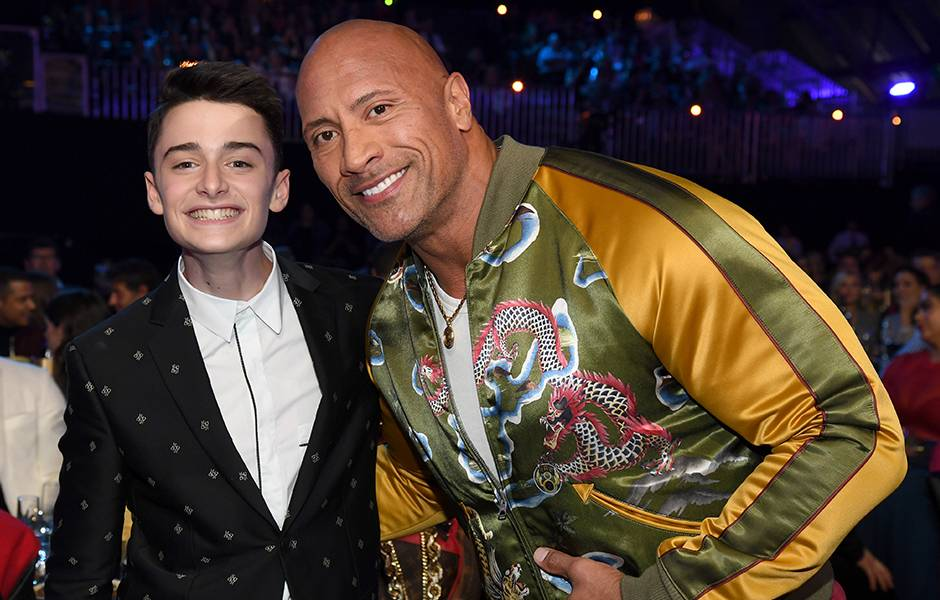 Movie & TV Awards 2019 | Behind The Scenes | The Rock and Noah Schnapp | 940x600