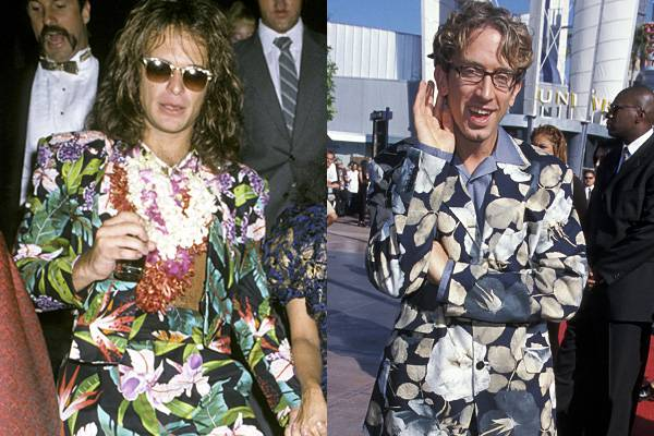 Who says head-to-toe floral isn't timeless? David Lee Roth and Andy Dick don dapper flower-patterned suits in 1984 and 1998, respectively.