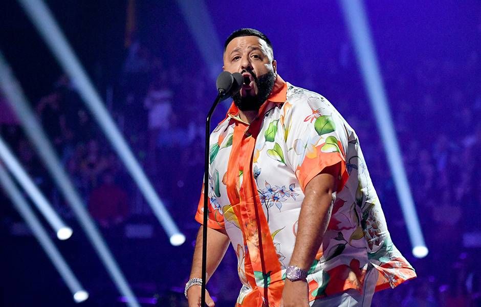 DJ Khaled brings lots of energy to the 2019 VMAs stage.