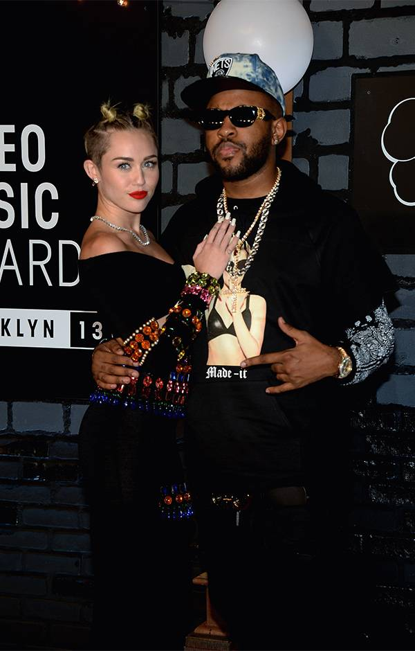 """""""Bangerz"""" collaborators Mike WiLL Made-It  and Miley Cyrus posed together on the 2013 VMAs red carpet."""