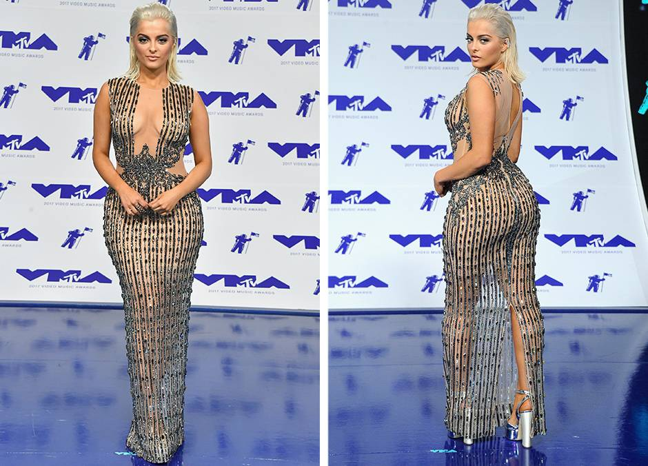 Bebe Rexha arrived to the 2017 VMAs with her bare bod dripping in silver and crystals.