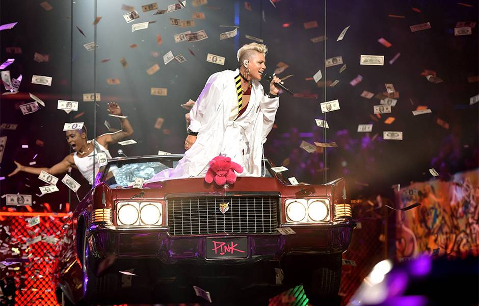 """P!nk took us on a walk down memory lane with her Video Vanguard performance featuring a medley of hits like """"So What"""" and """"Raise Your Glass"""" at the 2017 VMAs."""