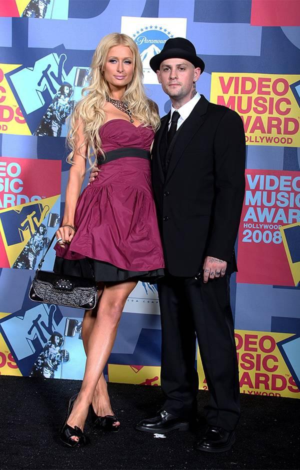 Paris Hilton and Benji Madden pose together at the 2008 VMAs.