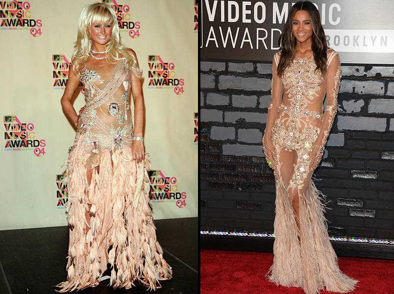 Jewels, mesh, and tons of feathers! Could Paris Hilton's 2004 VMA gown have inspired Ciara's strikingly similar 2013 red carpet attire?