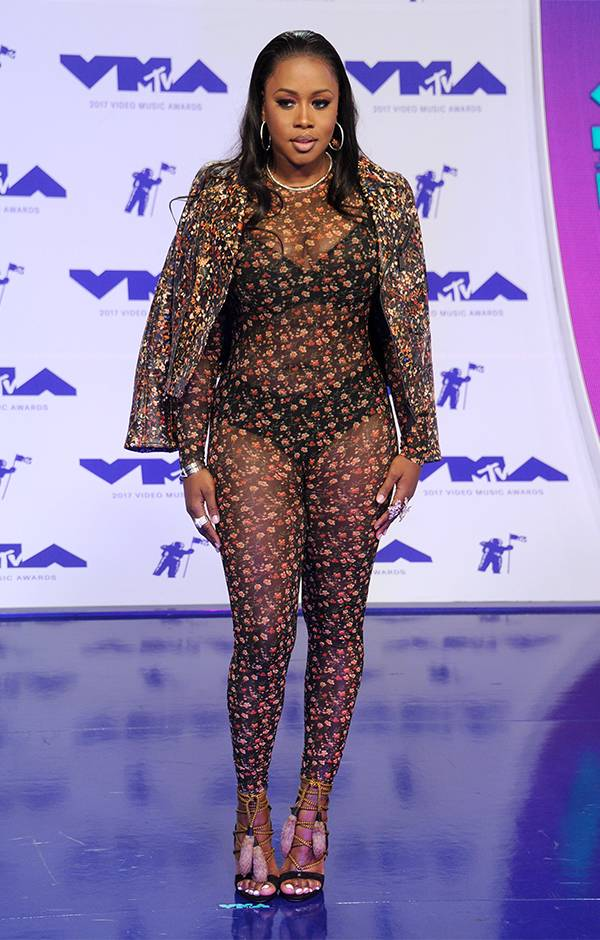 An upgrade from your typical floral dress, Remy Ma's sheer floral jumpsuit at the 2017 VMAs was the perfect mix of girly and sexy.