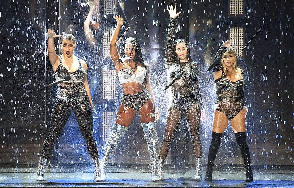 """Fifth Harmony dropped their mics on the 2017 VMA stage as the rain came down on them after performing """"Angel"""" and """"Down"""" with their incredible choreography and vocals."""